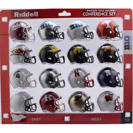 NCAA Pocket Pro Helmets, Big 10 Conference Set, (2018) New, ALL CONFERENCE TEAMS INCLUDED: mini helmet sets include 2 inch replica helmets of all members of the Big.., By Riddell