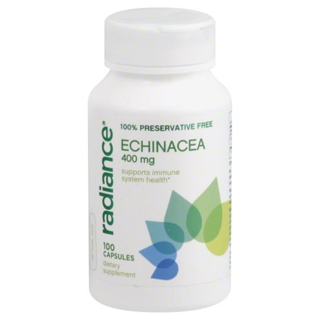 Radiance 100% Preservative Free ECHINACEA 400mg Supports Immune System Health 100 Capsules Dietary Supplement