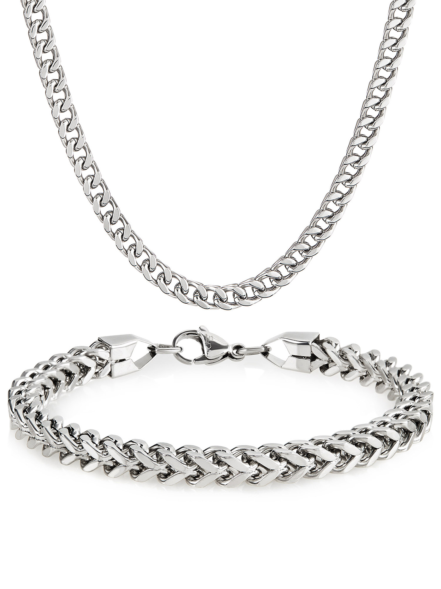 """Stainless Steel Franco Chain Necklace (24"""") and Bracelet (8.25"""") Set"""