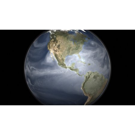 Full Earth View Showing Water Vapor Over The Americas Poster Print
