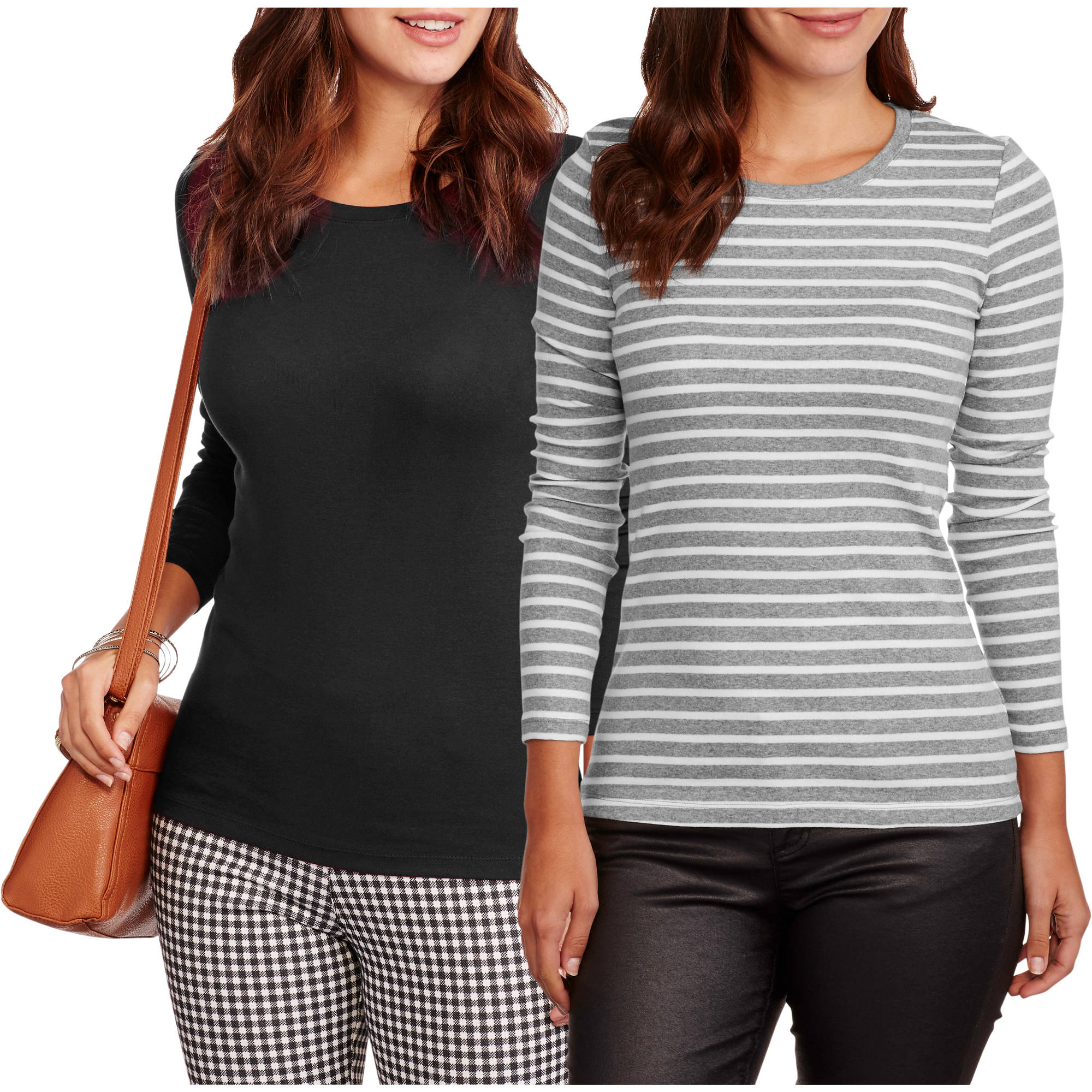 Faded Glory Women's Essential Crewneck T-Shirt 2-Pack Value Bundle