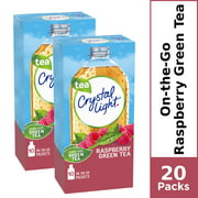 (20 Packets) Crystal Light Raspberry Green Tea Sugar Free, On-The-Go, Caffeinated Powdered Drink Mix