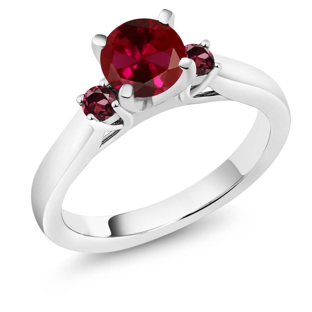 1.24 Ct Round Red Created Ruby Red Rhodolite Garnet 18K W...