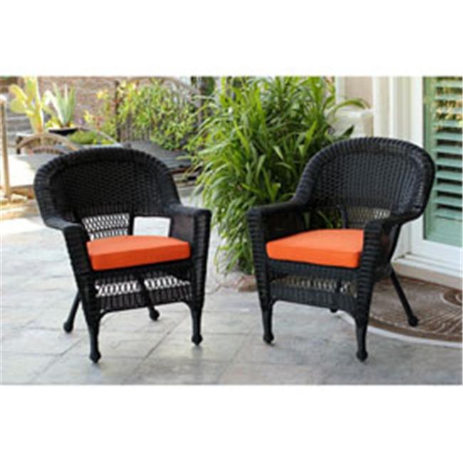 Jeco W00207-4-C-FS016-CS Black Wicker Chair with Orange Cushion - Set of 4