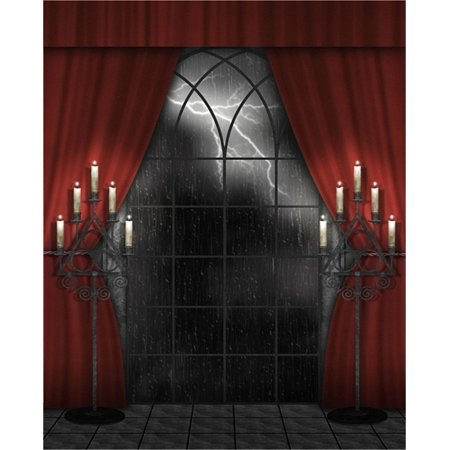 Halloween Backdrops Pinterest (HelloDecor Polyster Photography Backdrop Indoor 5x7ft Halloween Background Red Curtain Lighting Night Photo Studio Background Wood Floor for)