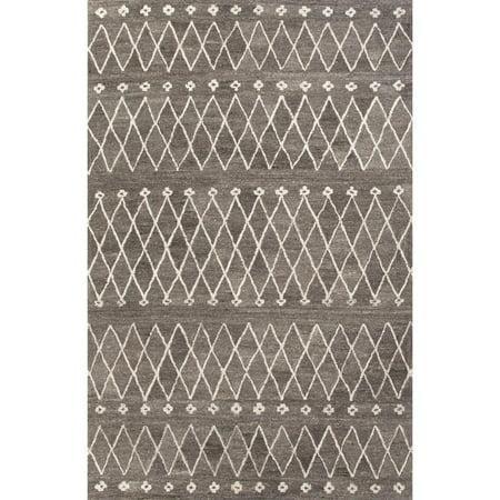 4 X 6 Slate Gray   Eggshell White Modern Sagar Hand Tufted Geometric Pattern Wool Area Throw Rug