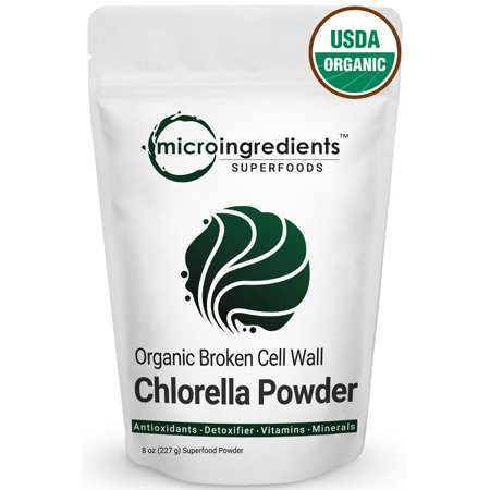 Micro Ingredients Organic Chlorella Powder, 8 Ounce, Best Superfoods for Rich Vitamins, Proteins & Chlorophyll. Non-Irradiated, Non-Contaminated, Non-GMO and Vegan