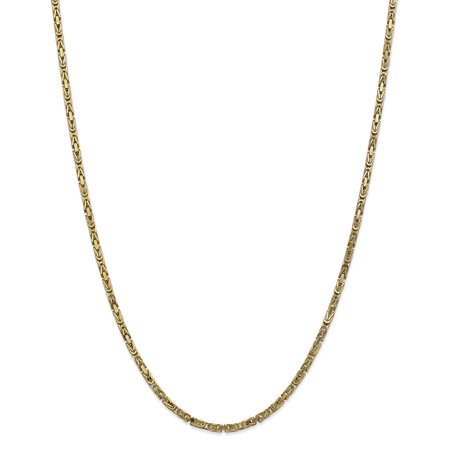 14kt Yellow Gold 2.5mm Link Byzantine Necklace Chain Pendant Charm Fine Jewelry For Women Gift Set