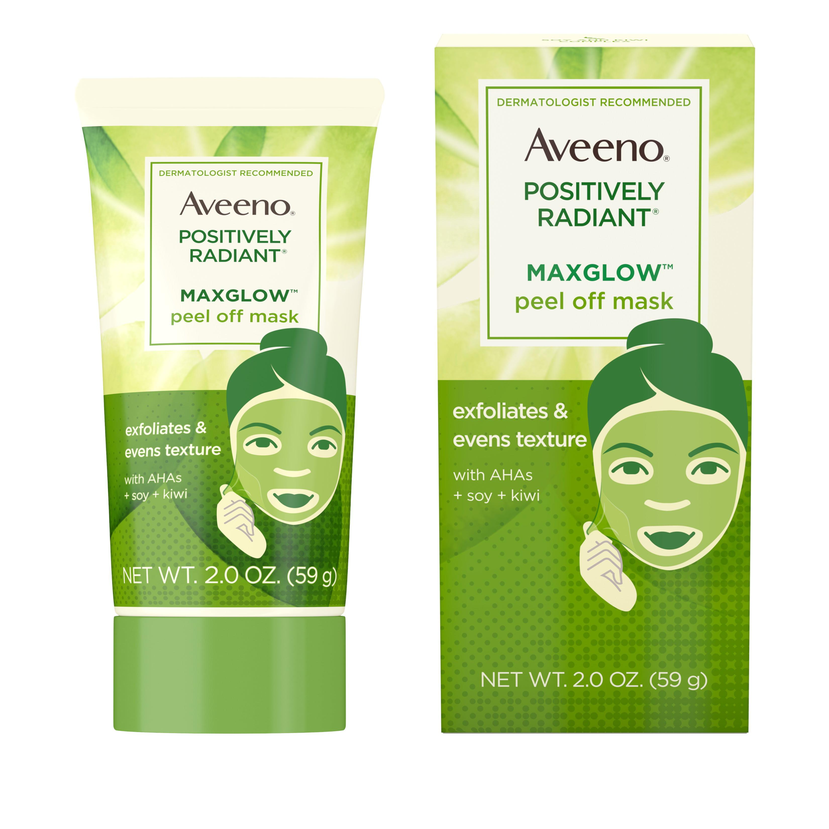 Aveeno Positively Radiant MaxGlow Peel Off Exfoliating Face Mask, 2 oz