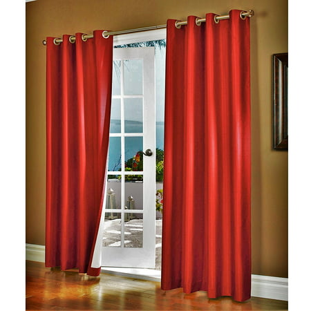 (#32) Hotel Quality SILVER Grommet Top, FAUX SILK  1 PANEL BRIGHT RED  SOLID THERMAL FOAM LINED BLACKOUT HEAVY THICK WINDOW CURTAIN DRAPES  GROMMETS 84
