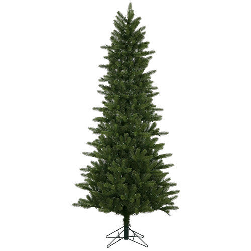 Vickerman 7.5' Green Kennedy Fir Slim Artificial Christmas Tree with 500 LED White Lights with Stand