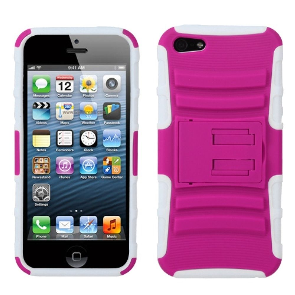 Insten Advanced Armor Hard Hybrid Rubber Silicone Cover Case w/stand For Apple iPhone 5/5S/SE - Black/Pink