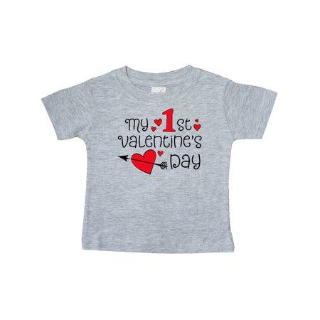 My First Valentines Day red hearts and arrow Baby T-Shirt