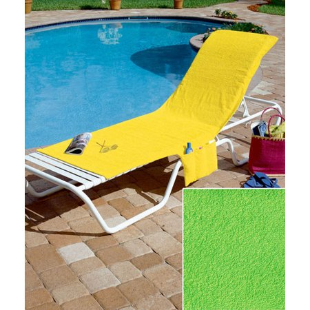 Terry Lounge Cover - TERRYCLOTH POOL CHAISE LOUNGE LIME GREEN CHAIR COVER WITH POCKETS CONVERTS TO TOTE