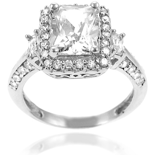 Alexandria Collection Sterling Silver Rectangle-Cut Cubic Zirconia Engagement Ring