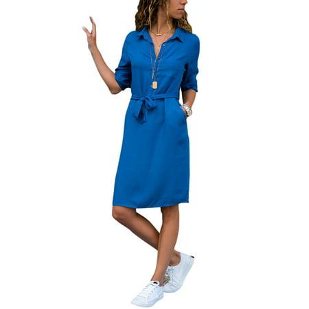 Women Summer Long Sleeve Plain Waistband Shirt Mini Dress Ladies Casual Party V Neck Button Pocket Blouse Tops