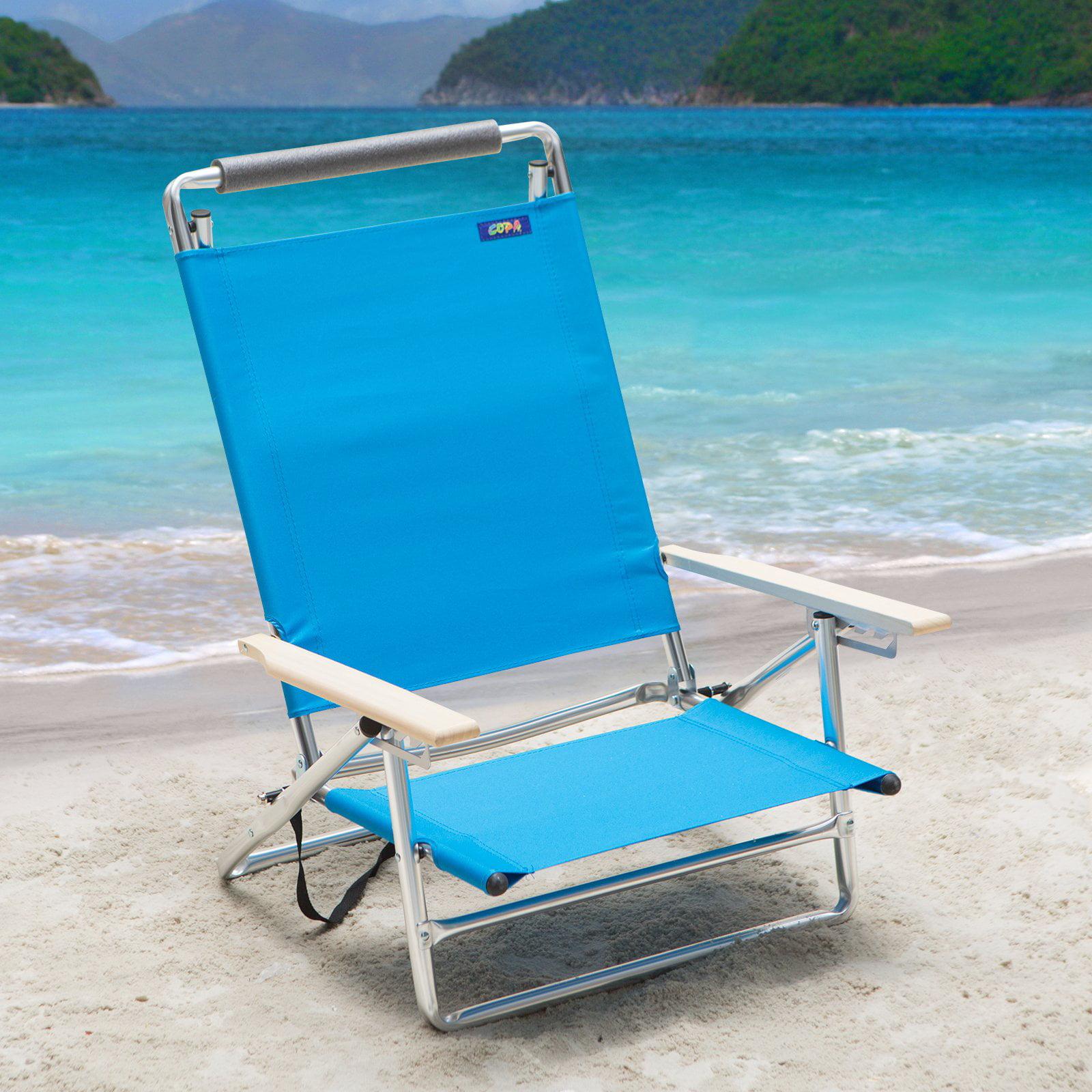 Copa 5 Position Lay Flat Aluminum Beach Chair Azure Walmart
