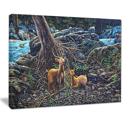 Design Art 'Deer in Forest' Graphic Art on Wrapped Canvas