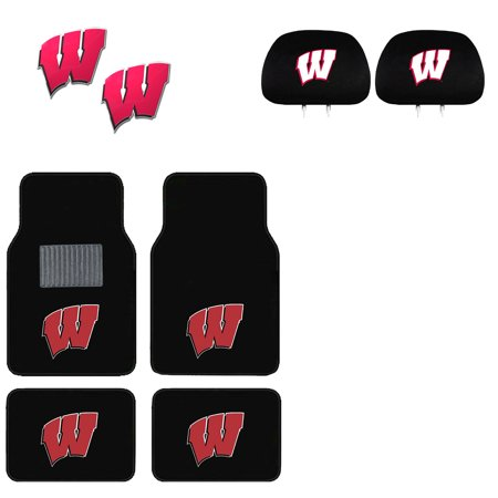 Wisconsin Badgers 4 Pc Carpet Floor Mats And 2 Color Emblems With 2 Headrest Covers
