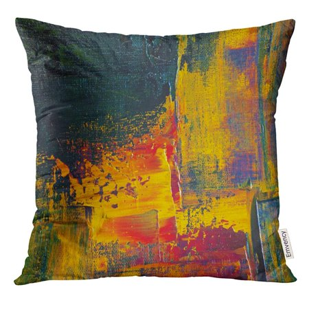 Impasto Oil (USART Red Paint Original Impasto Oil Painting on Canvas Closeup Hand Yellow Thick Pillow Case 18x18 Inches Pillowcase)