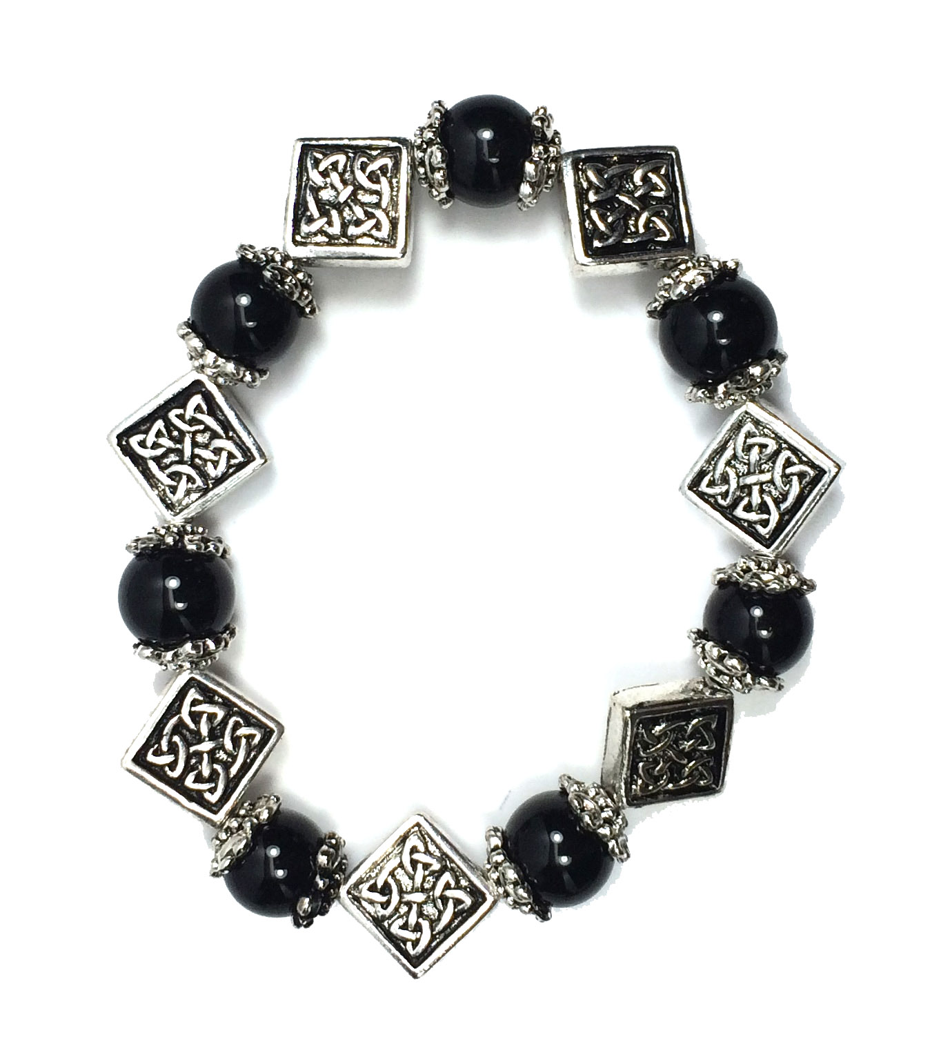 Celtic Bead Stretch Bracelet Irish Jewelry Accessory