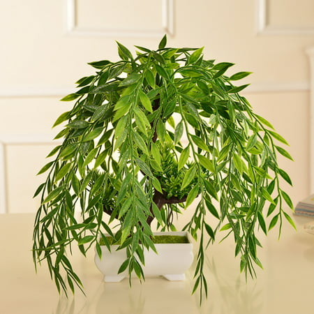 Green Artificial Plant Simulation Fake Potted Bonsai Tree in Pots Artificial Plant and Trees Garden Home Office Desk Decorations for Indoor Outdoor (Japanese White Pine Bonsai Tree For Sale)