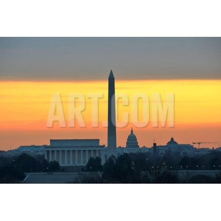 Washington DC City View in Sunrise, including Lincoln Memorial, Monument and Capitol Building Print Wall Art By Orhan