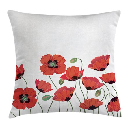 Floral Throw Pillow Cushion Cover, Bright Poppy Flowers in Garden Fresh Plant Idyllic Nature Fragrance Theme Artprint, Decorative Square Accent Pillow Case, 16 X 16 Inches, Orange Green, by Ambesonne (Fragrance Pillow)