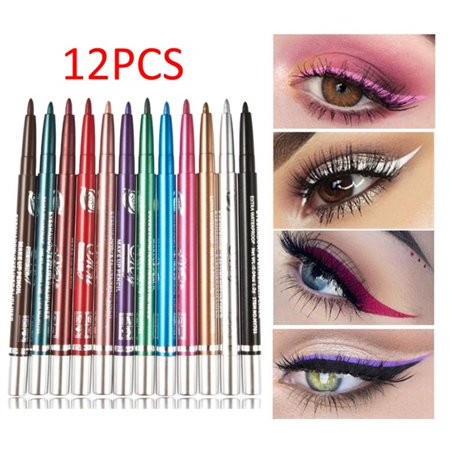 12 PCS Colorful Eyebrow Pencil Eyeliner Eyebrow Lip Liner Pencil Pen Makeup Cosmetic Set Kit Tool Waterproof Long Lasting Easy Twist Up Self-Sharpening Eye Color - Colorful Eye