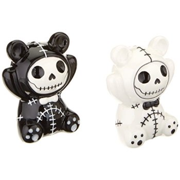 Furrybones Pandie Skeletons in Panda Costume Ceramic Salt and Pepper Shakers
