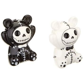 Furrybones Pandie Skeletons in Panda Costume Ceramic Salt and Pepper Shakers