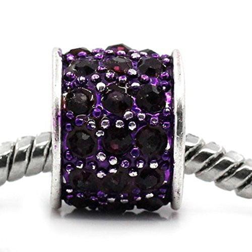 Purple Cylinder Charm w/  Rhinestones European Bead Compatible for Most European Snake Chain Bracelet