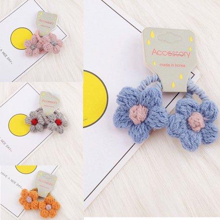 babydream1 2Pcs/set Kids Mini Flower Hair Tie Ponytail Holder Children Girls Cashmere Flowers Hair Band Rope - image 7 de 9