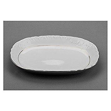 Cmielow ODPL33-X, 13-Inch Oval Platinum Band Dish, Porcelain Fruit Serve Dish Plate, Serving Platter, Set of 6