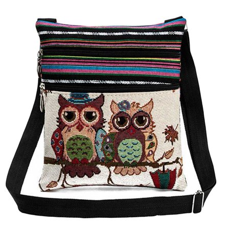 Fancyleo New Fashion Women Shoulder Bags Embroidered Owl Pattern Postman Package Tote Handbags High Quality