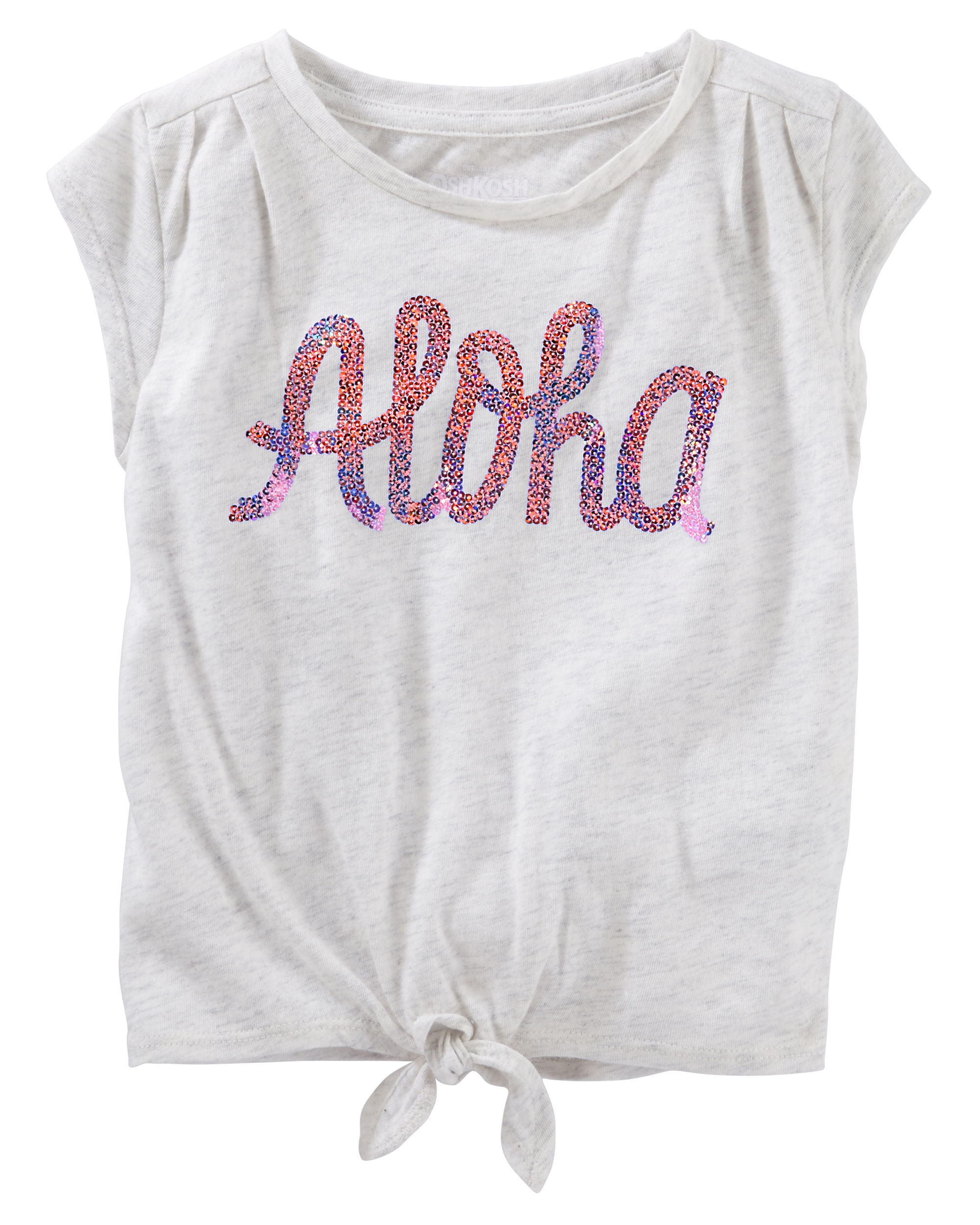 OshKosh B'gosh Little Girls' TIe Hem Top, Aloha, 2T