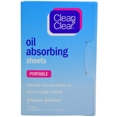 Clean & Clear, Oil Absorbing Sheets, Portable, 50 Sheets(pack of 3)