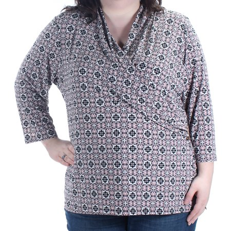 00d8e9ee383 CHARTER CLUB - CHARTER CLUB Womens Pink Black Printed 3 4 Sleeve Faux Wrap  Top Plus Size  2X - Walmart.com