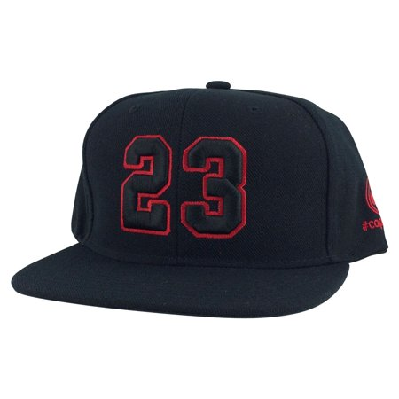Player Jersey Number #23 Snapback Hat Cap x Air Jordan / Lebron - Black (Jordan Dub Zero Black Infrared 23 Verde)