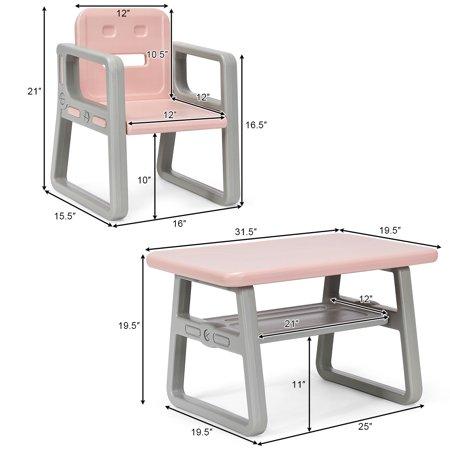 Gymax Kids Table and 2 Chairs Set Toddler Table w/ Storage Shelf For Baby Gift Pink - image 3 de 10