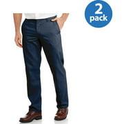 Genuine Dickies Mens Slim Fit Flat Front Flex Pant, 2 Pack
