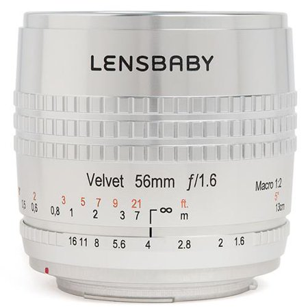Lensbaby Velvet 56, 56mm f/1.6 Macro Lens for Nikon F - Clear-Anodized Finish with Engraved Aperture and Focus