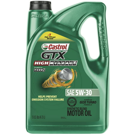 (6 Pack) Castrol GTX High Mileage 5W-30 Synthetic Blend Motor Oil, 5