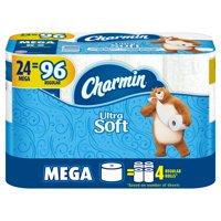 Charmin Ultra Soft Toilet Paper, 24 Mega Rolls = 96 Regular Rolls