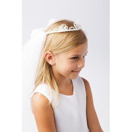 Girls White Sequin Bead Crown Double Layer Communion Flower Girl Veil