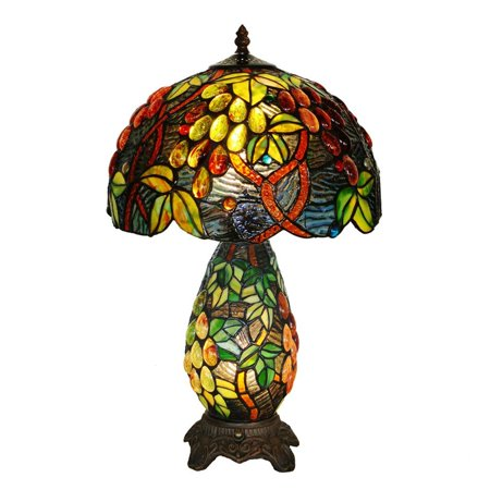Bieye L10187 12 Inches Grapes Tiffany Style Stained Glass Table Lamp