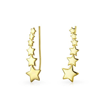 Celestial USA Patriotic Shooting Star Ear Pin Climbers Earrings For Women Wrap Crawlers 14k Gold Plated Sterling - Patriotic Earrings