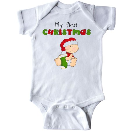 Inktastic My First Christmas Infant Creeper 1st Baby Stocking Green Gift