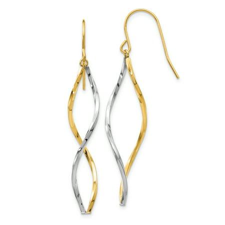 14k Two Tone Yellow Gold Twist Drop Dangle Chandelier Earrings Gifts For Women For Her