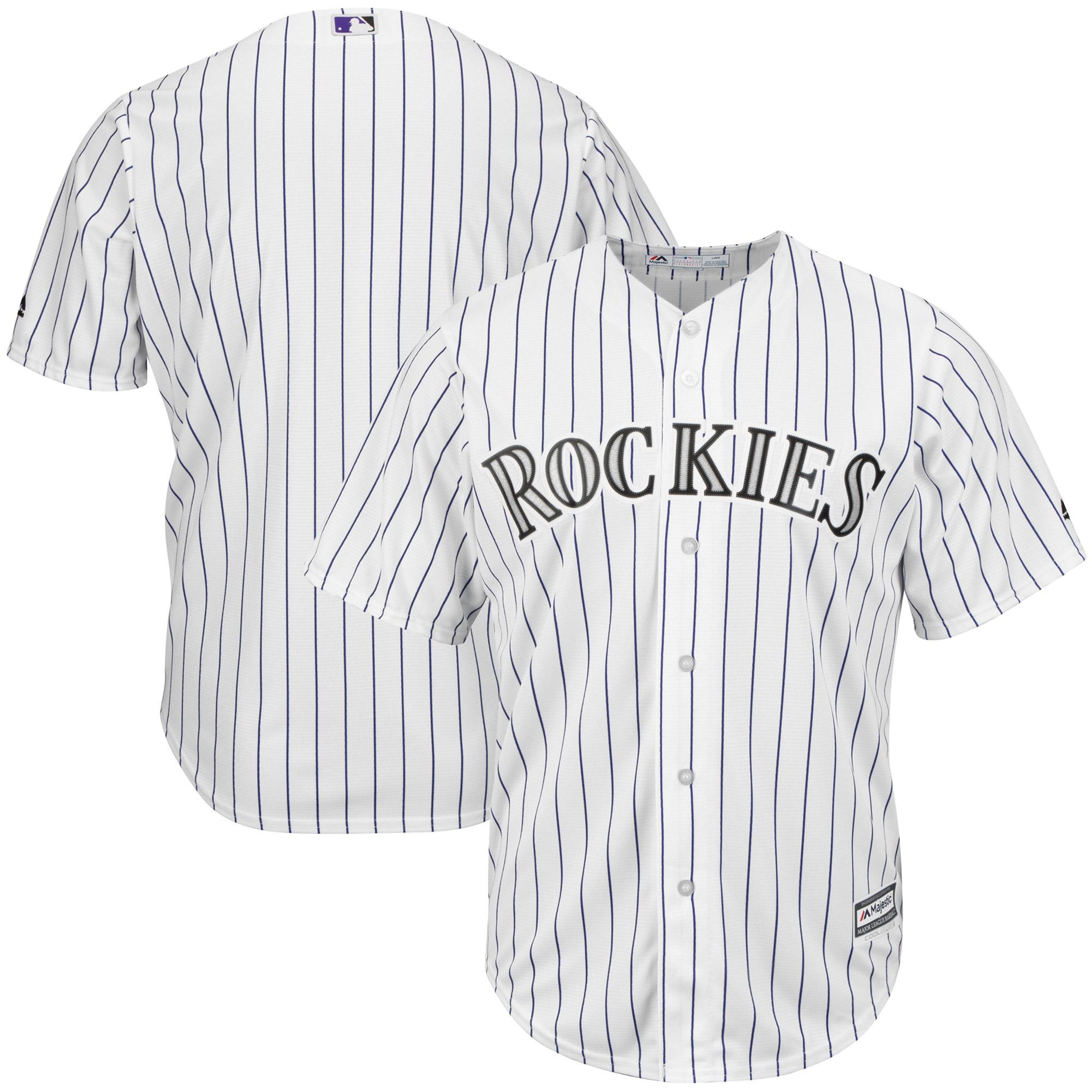 Colorado Rockies Majestic Big & Tall Cool Base Team Jersey - White/Purple
